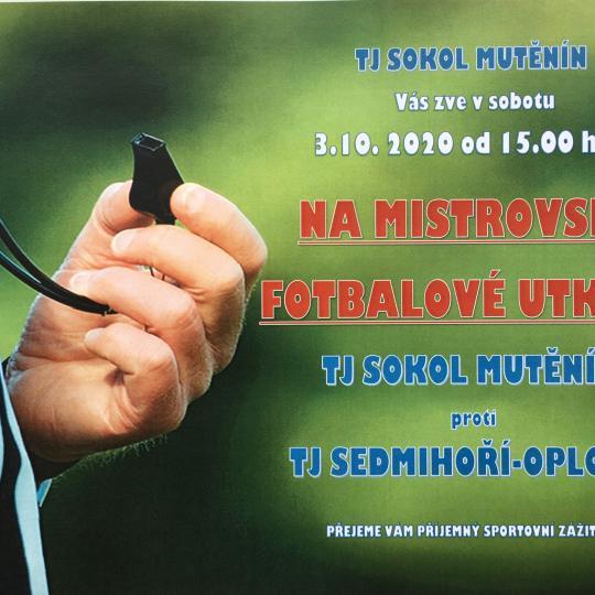 Pozvánka na fotbalové utkání v sobotu 3.10. 2020 od 15.00 hod..