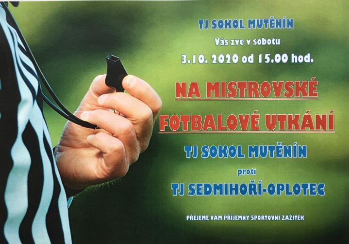Pozvánka nafotbalové utkání vsobotu 3.10. 2020od 15.00 hod..