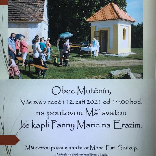 Pouťová Mše svatá 12.září 2021 od 14.00 hod.- kaple Panny Marie na Erazimu