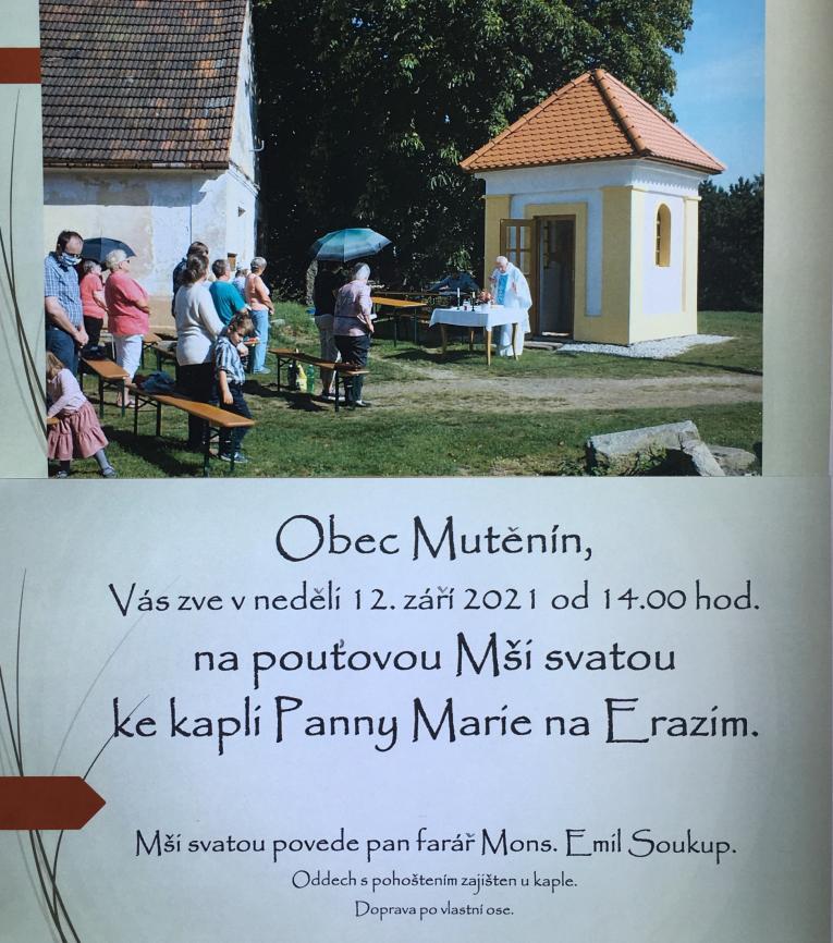 Pouťová Mše svatá 12.září 2021od 14.00 hod.- kaple Panny Marie naErazimu